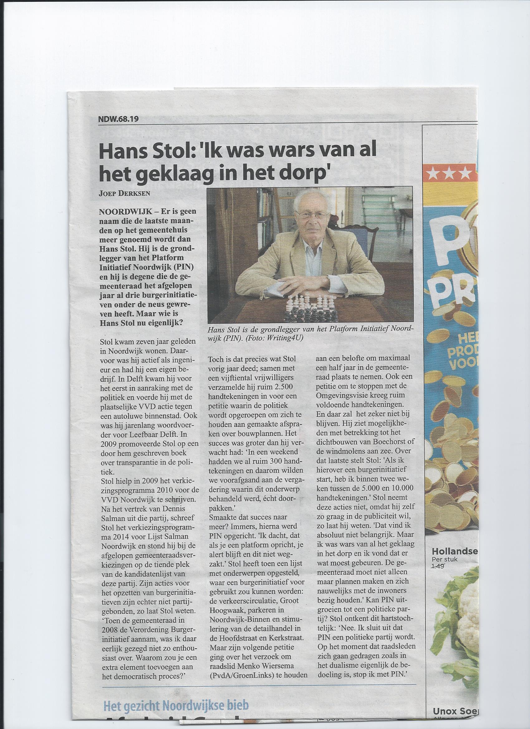 interview Hans Stol in Witte Weekblad (2)
